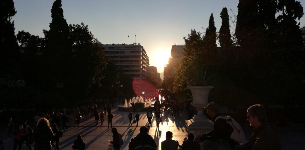Syntagma Platz Sonnenuntergang