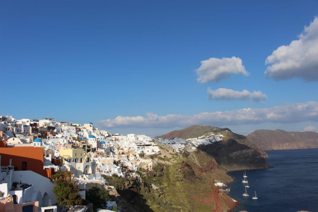 Aussicht auf Santorini von der Burgruine