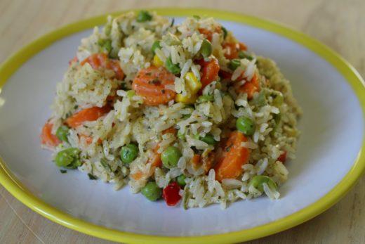 schnelle, cremige Gemüse-Reis-Pfanne