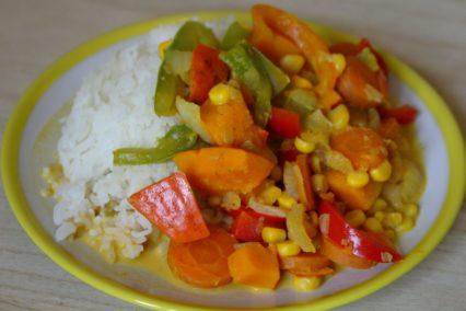 einfaches Kürbis-Gemüse-Curry mit Reis