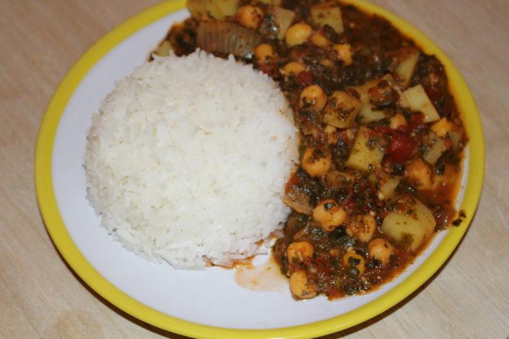 Kichererbsen-Kartoffel- Eintopf mit Reis