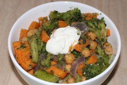 schnelle Süßkartoffel-Kichererbsen-Pfanne